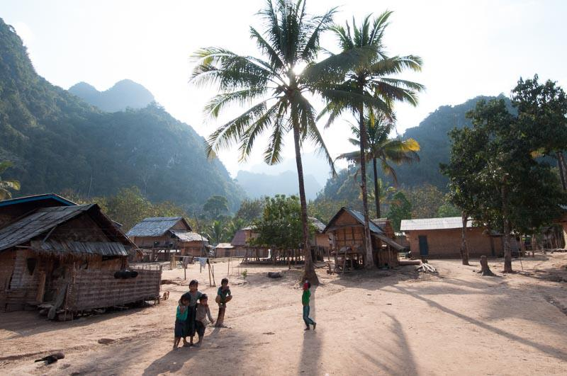 Native Houses and People in Laos