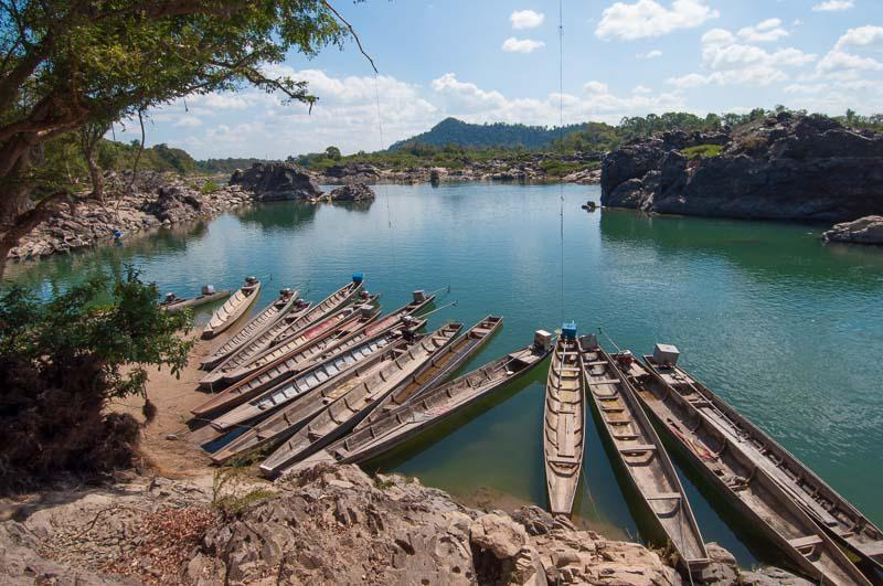 Boats in a Riverbank in Laos