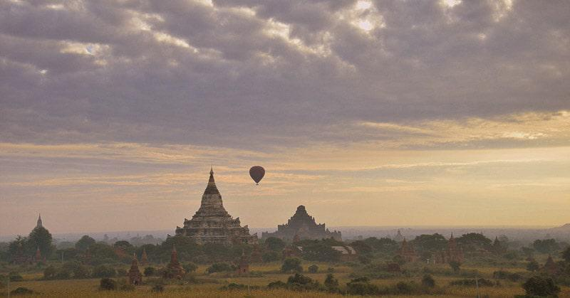 Myanmar Temples Being Observe in a Balloon