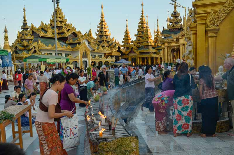 People Gathering in Myanmar Temples