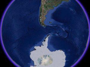 Drake Passage satellite map.