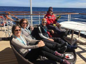 Lounging on deck before reaching Drake Passage.